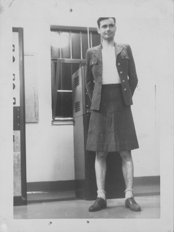 Unidentified man in a Woman's Army Corps (WACS) uniform. Circa 1944-1945.