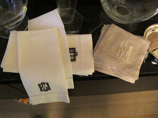 Some monogrammed napkins that I use for special gatherings.