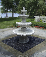 4-Tier Acanthus Self Contained Fountain, Bianco Catalina