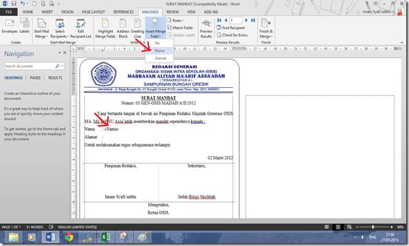 Cara Membuat Mailings Pada Office Word 2013 | Pro Duck