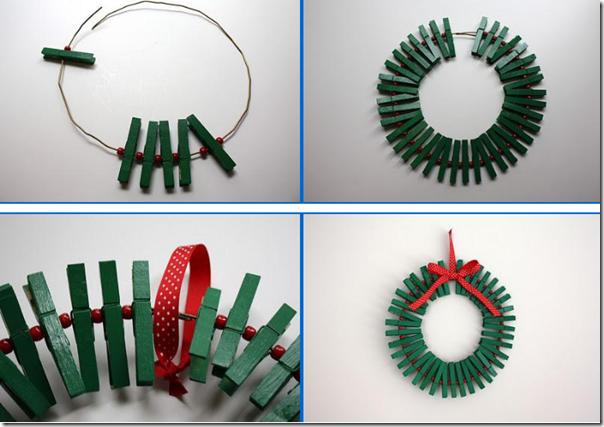 Manualidades Decoracion Navidad ~ Manualidades coronas Navidad hechas con pinzas ? ganchos de ropa