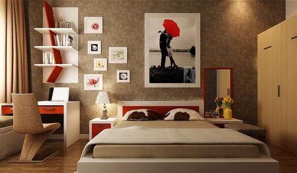 Habitación rojo, blanco y marrón
