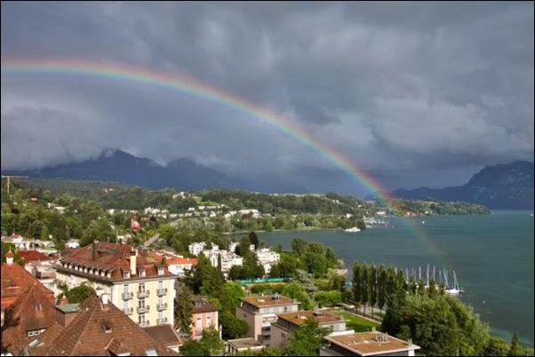 أقواس قوس قزح فوق لوسيرن، سويسرا