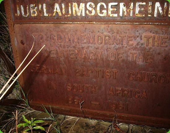 Carsten Langhein, Grave Plaque, Frankfort Eastern Cape 2