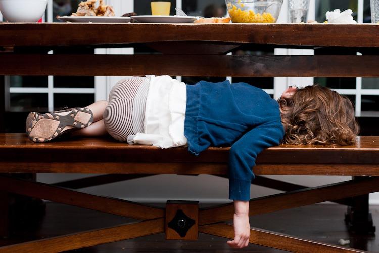 Abby sleeping at the table blog-1