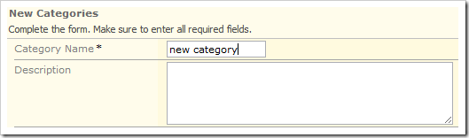 Lowercase text entered into the Category Name field.