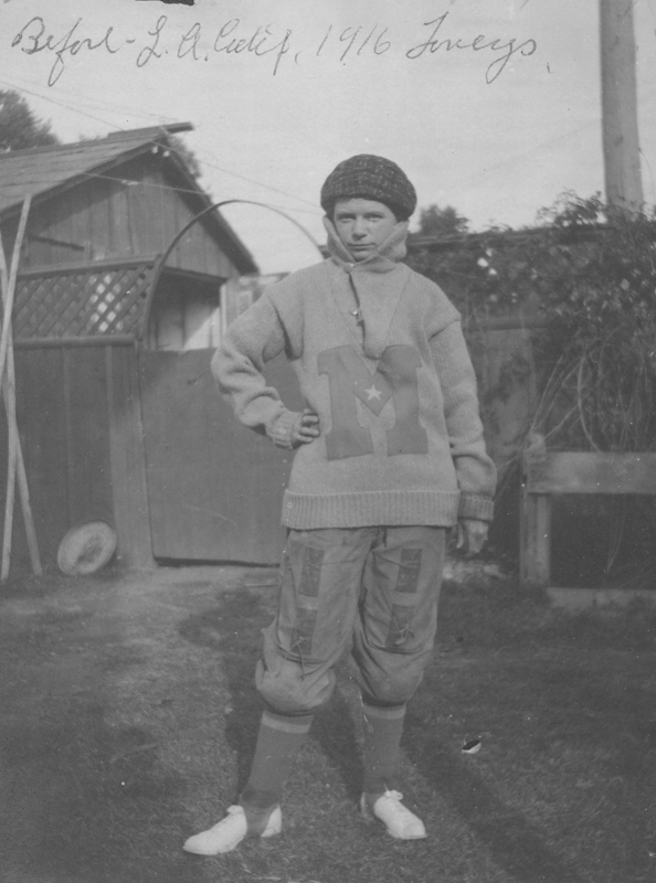Dorothy Putnam dressed in football gear. 1916.