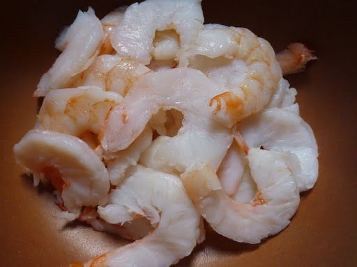 Shrimp have been halved lengthwise which makes them easier to eat!