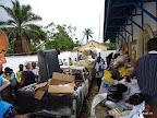 Une jeep de la Ceni incendiée la veille du jour du vote (28 novembre 2011) au soir emmenée dans un centre de compilation de Lubumbashi. Radio Okapi