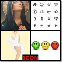 ICON- 4 Pics 1 Word Answers 3 Letters