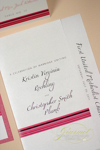 Kristins Pink and Black Stripe Wedding Reception Gourmet Invitations