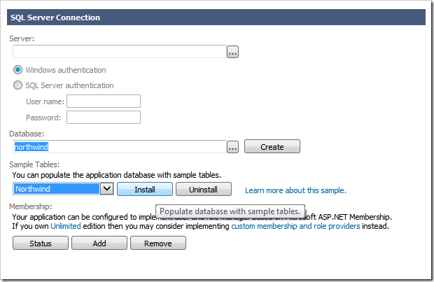 Populating empty sample database with data for a project with Touch UI.
