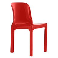Heller reissue of Selene chair, red