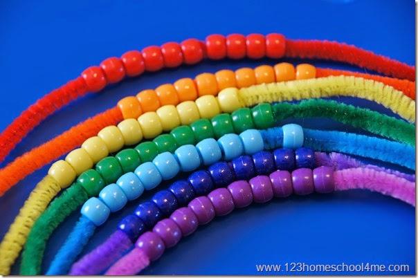 add rainbow colored pony beads
