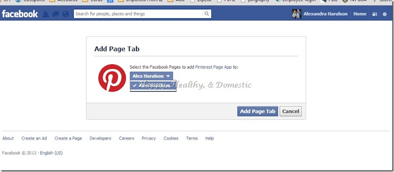 14 Custom FB app tabs add pinterest select page