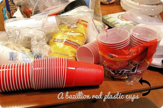 kitchen organization red plastic cups