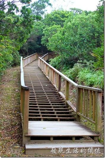屏東-旭海大草原。牡丹鄉公所在很多地方都建造了這種木梯步道,取代以前用纜繩攀爬的道路,雖然路面變好走了,不過原來的樂趣也不見了。