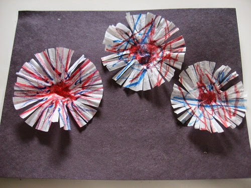 Cupcake Liner Fireworks from No Time for Flashcards