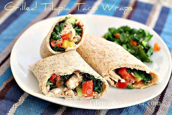 Grilled Tilapia Fish Taco Wraps with Kale Slaw on Whole Wheat Tortillas