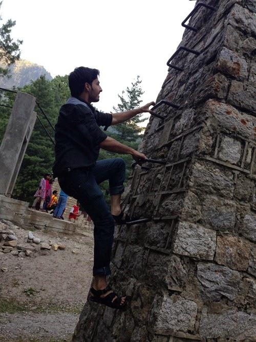 Climbing a pole!