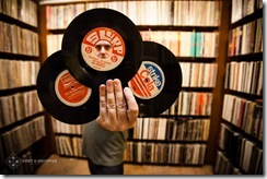 Cut Chemist, Music producer and a vinyl record collector from Los Angeles, CA photographed with his vinyl collection at his home for Dust & Grooves. © Copyright - Eilon Paz - www.dustandgrooves.com