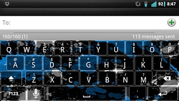 Screenshot of Blue Splatter Keyboard Skin