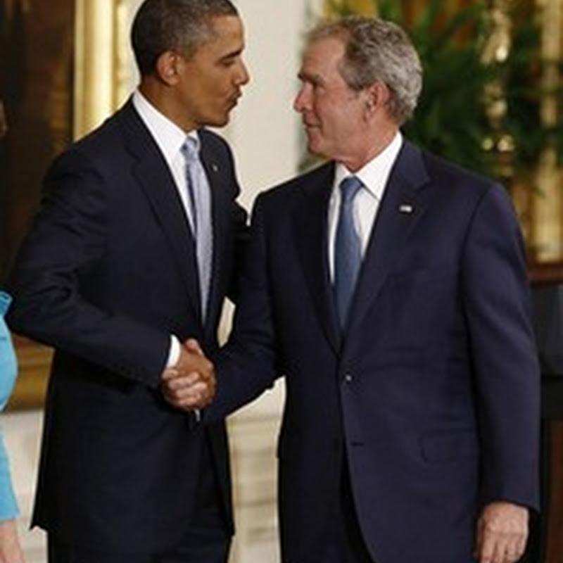 Bush e Obama Juntos, na Casa Branca.