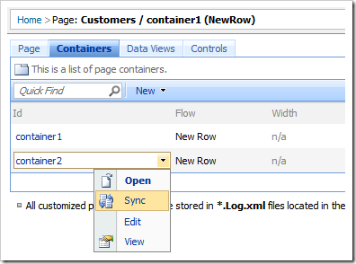 Sync context menu option on container2 from the list of containers.