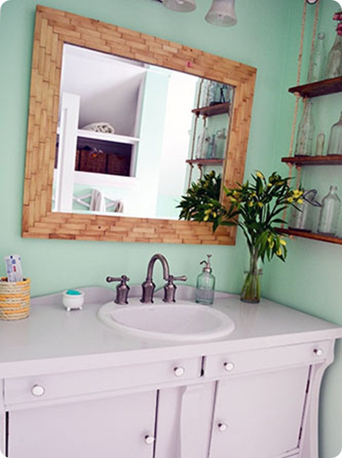 wood tiled mirror frame