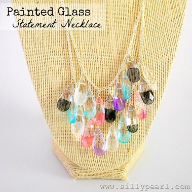 Painted Glass Teardrop Statement Necklace - The Silly Pearl