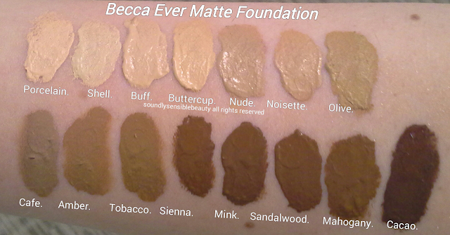 Becca Ever Matte Shine Proof Foundation; Review & Swatches of Shades- Porcelain, Shell, Buff, Buttercup, Nude, Noisette, Olive,  Cafe, Amber, Tobacco, Sienna, Mink, Sandalwood, Mahogany, Cacao