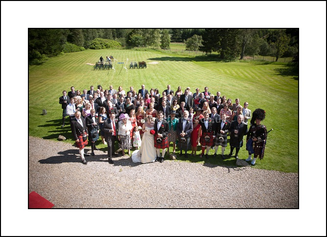 group of guests at scottish wedding