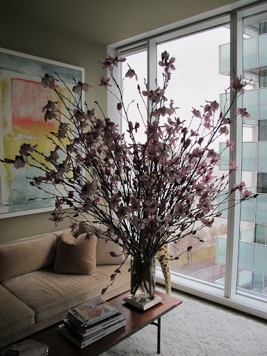 A dramatic arrangement of magnolias.