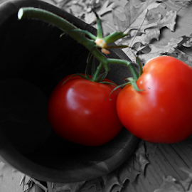 by Dipali S - Food & Drink Fruits & Vegetables ( tomato, oak, fall, basket, leaves, vegetable, selective color, pwc )