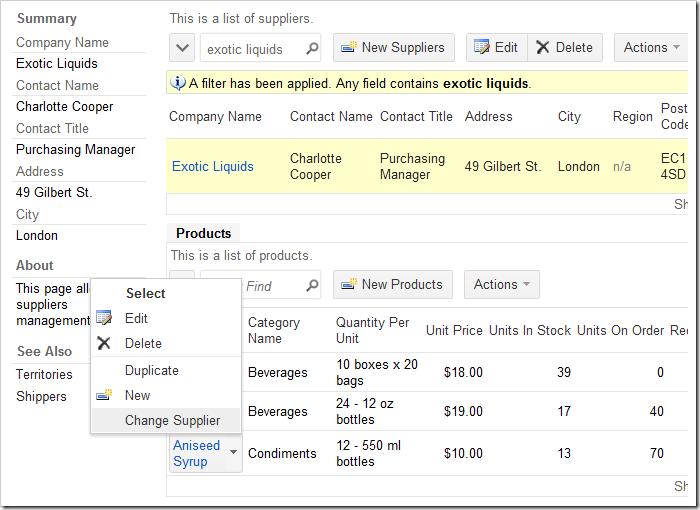 Change Supplier context menu action in the list of products.