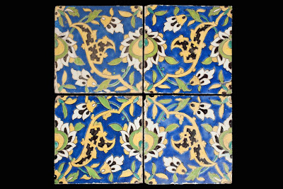 Four Tiles from a Panel cuerda seca cuerda seca | Origin: Iran, Isfahan | Period:  17th century | Collection: The Nasli M. Heeramaneck Collection, gift of Joan Palevsky (M.73.5.759) | Type: Ceramic; Architectural element, Fritware, cuerda seca, 9 x 9 in. (22.86 x 22.86 cm)