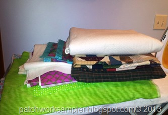stack of quilting