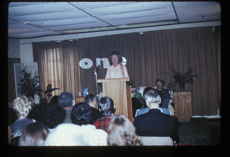 Christine Jorgensen, the first person widely known to have sex reassignment surgery, speaks at ONE Incorporated. March 9, 1975.