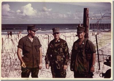 Russ Ford Capt Gasser Steve Cox on east side of DaNang at ocean summer 1969