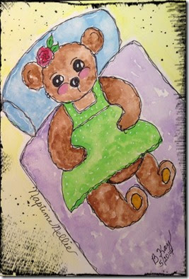 Naptime Nellie Teddy Bear Watercolor w pint border