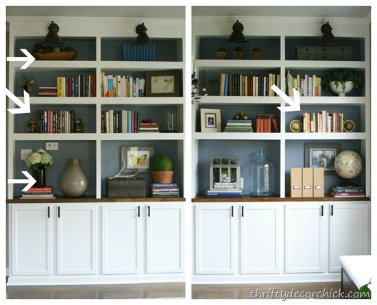 How To Decorate Bookshelves how to accessorize bookcases from thrifty decor chick