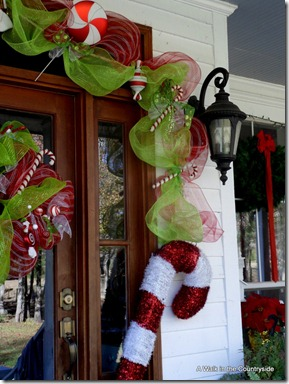 A Walk in the Countryside: Christmas Front Door with Candy & Mesh Ribbon