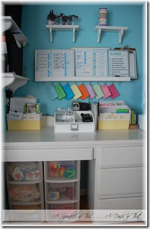 Desk area with plastic storage drawers before {A Sprinkle of This . . . . A Dash of That}