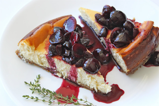 Goat Cheese Cheesecake with Thyme-Infused Cherries