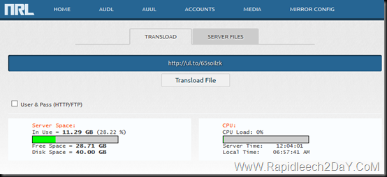 Just put the link and click on Transload file
