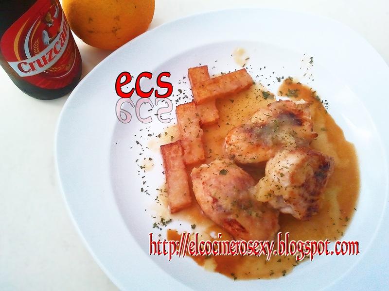 Medallones de pollo en salsa de cerveza y naranja otra