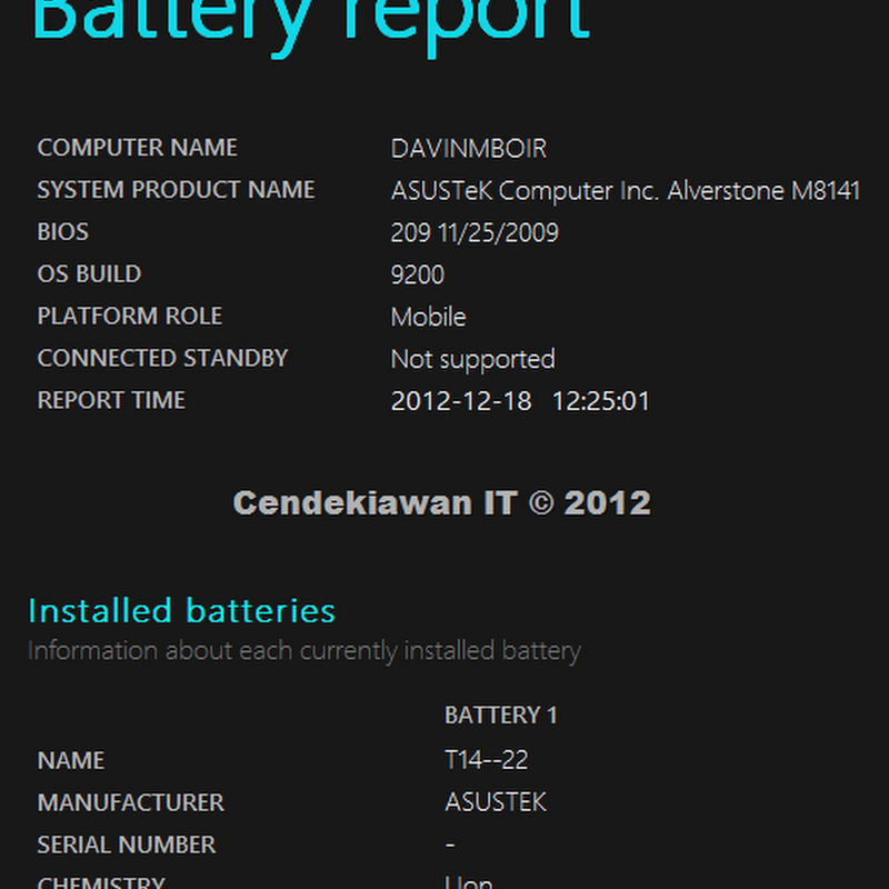Melihat Kemampuan Detil Battery Laptop di Windows 8