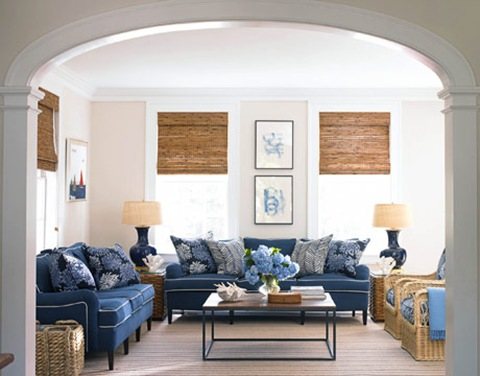 blue and white family room by Lynn Morgan