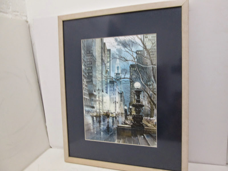 Signed Watercolor Cityscape