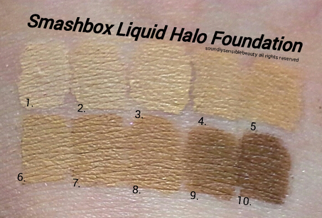 Smashbox Liquid Halo HD Foundation Review & Swatches of Shades #1, #2, #3, #4, #5, #6, #7, #8, #9, #10